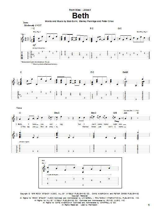 Tablature guitare Beth de KISS - Tablature Guitare