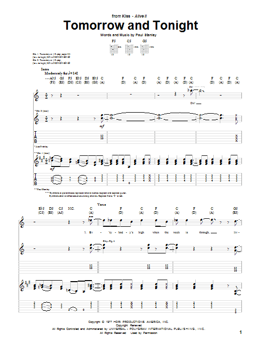 Tablature guitare Tomorrow And Tonight de KISS - Tablature Guitare