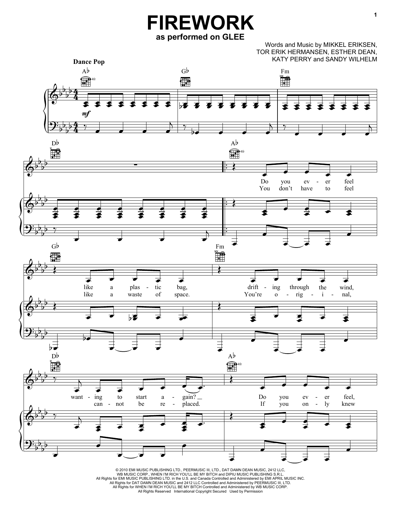 Firework Sheet Music