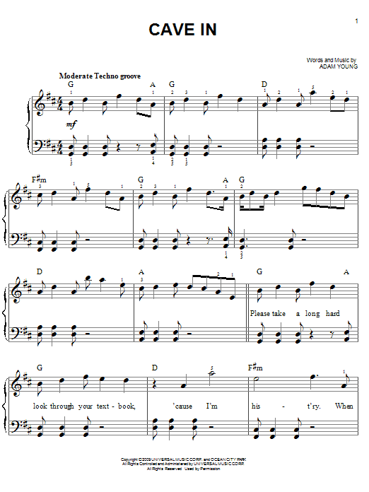 Cave In Sheet Music