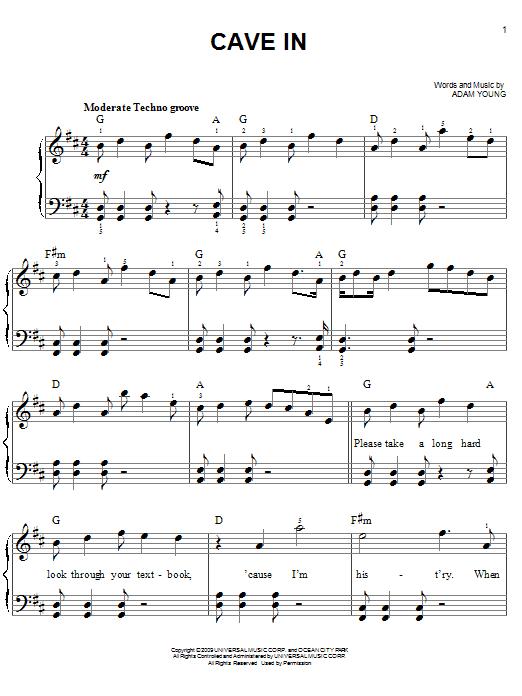 Partition piano Cave In de Owl City - Piano Facile