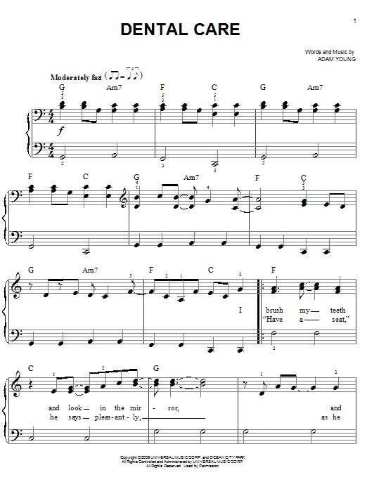 Partition piano Dental Care de Owl City - Piano Facile