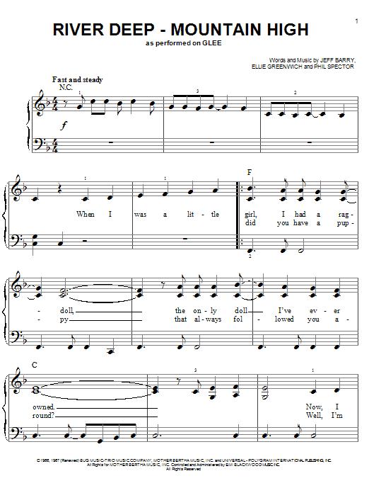 Partition piano River Deep - Mountain High de Glee Cast - Piano Facile