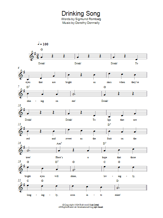 Drinking Song Sheet Music