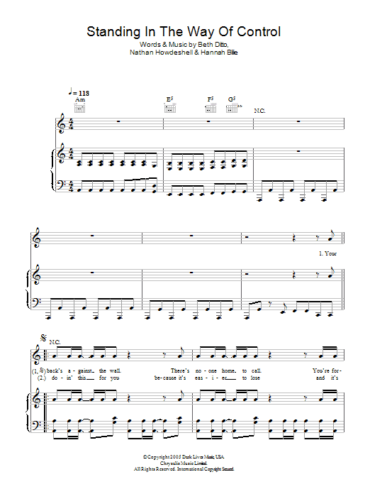 Standing In The Way Of Control Sheet Music
