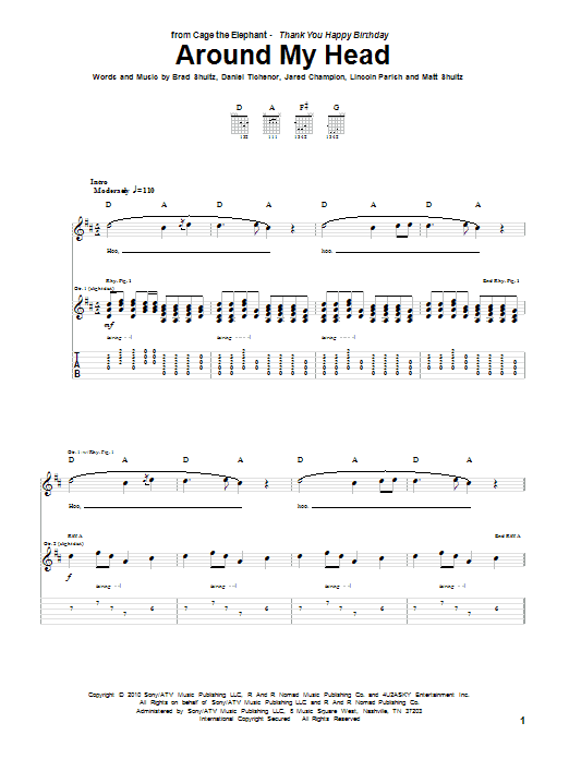 Tablature guitare Around My Head de Cage The Elephant - Tablature Guitare