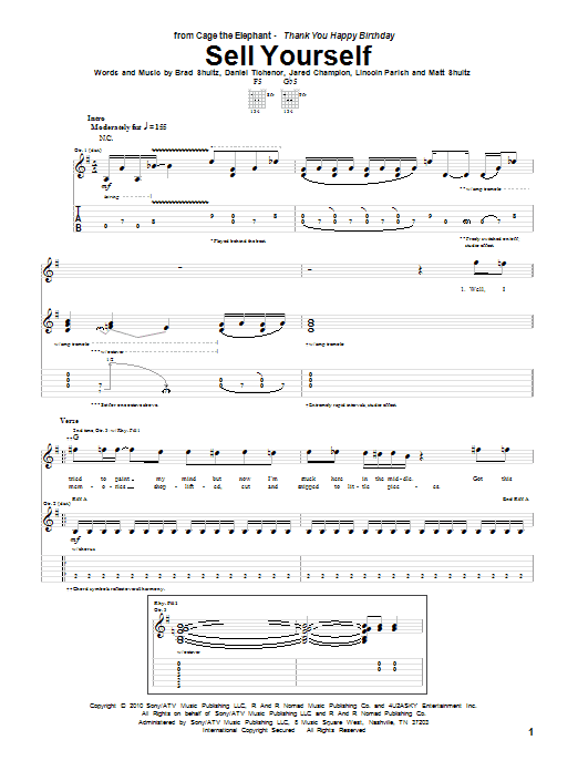 Tablature guitare Sell Yourself de Cage The Elephant - Tablature Guitare