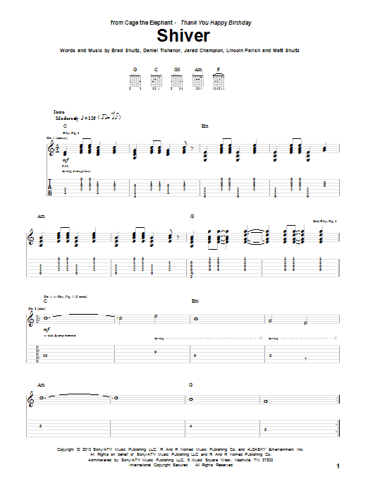 Tablature guitare Shiver de Cage The Elephant - Tablature Guitare