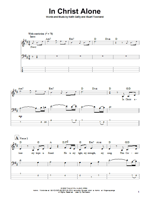 In Christ Alone (Bass Guitar Tab)