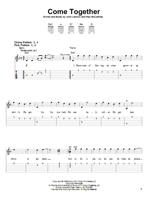 Come Together (Easy Guitar Tab)
