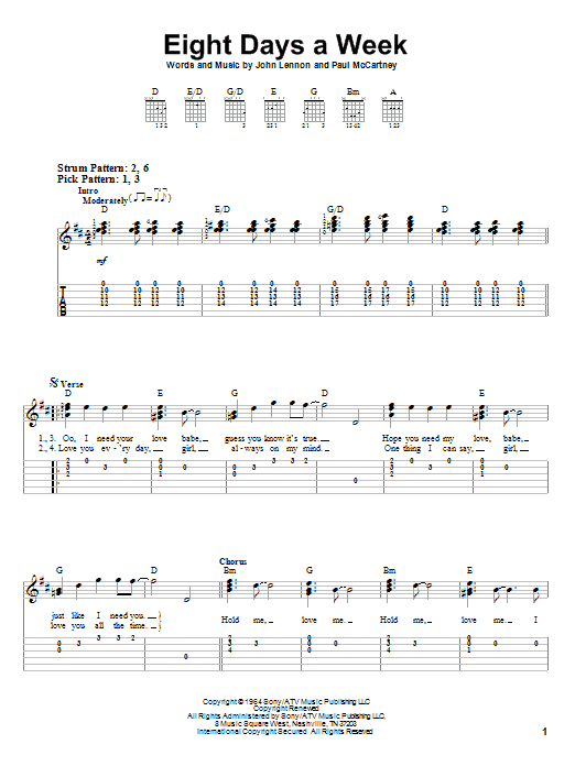 Eight Days A Week (Easy Guitar Tab)
