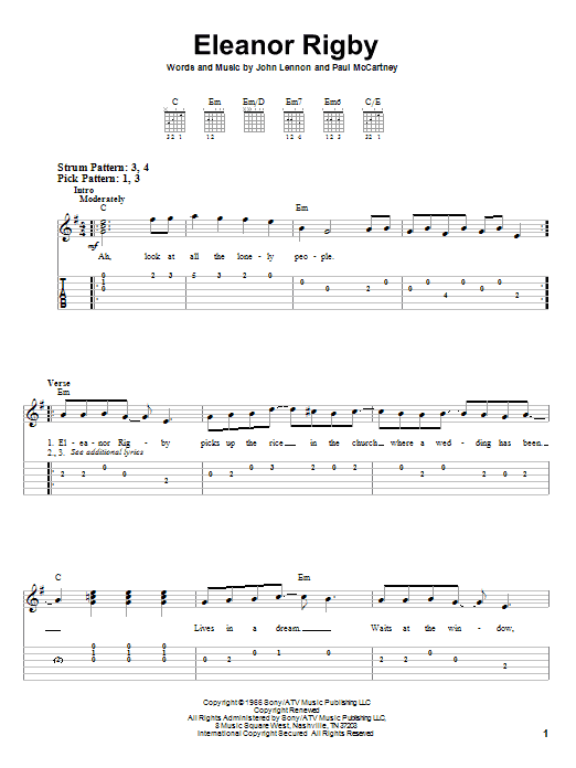 Tablature guitare Eleanor Rigby de The Beatles - Tablature guitare facile