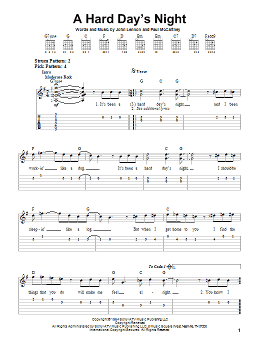 A Hard Days Night By The Beatles Easy Guitar Tab Guitar Instructor