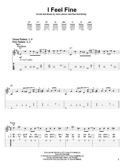 I Feel Fine (Easy Guitar Tab)