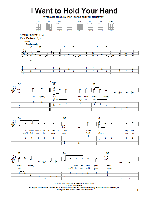 I Want To Hold Your Hand by The Beatles - Easy Guitar Tab - Guitar ...