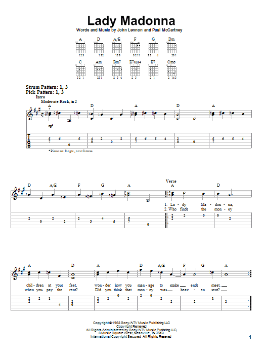 Tablature guitare Lady Madonna de The Beatles - Tablature guitare facile