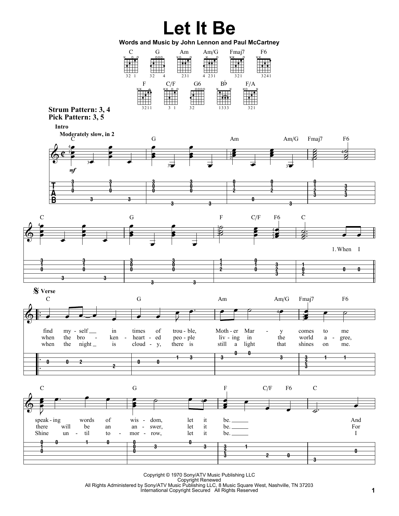 Guitar guitar tabs easy : Let It Be sheet music by The Beatles (Easy Guitar Tab – 81966)