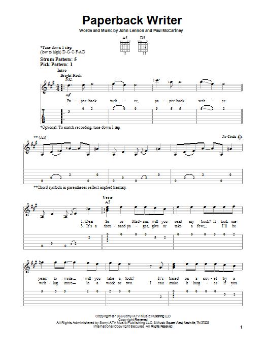 Paperback Writer Sheet Music