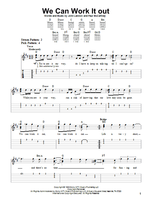 We Can Work It Out By The Beatles Easy Guitar Tab Guitar Instructor
