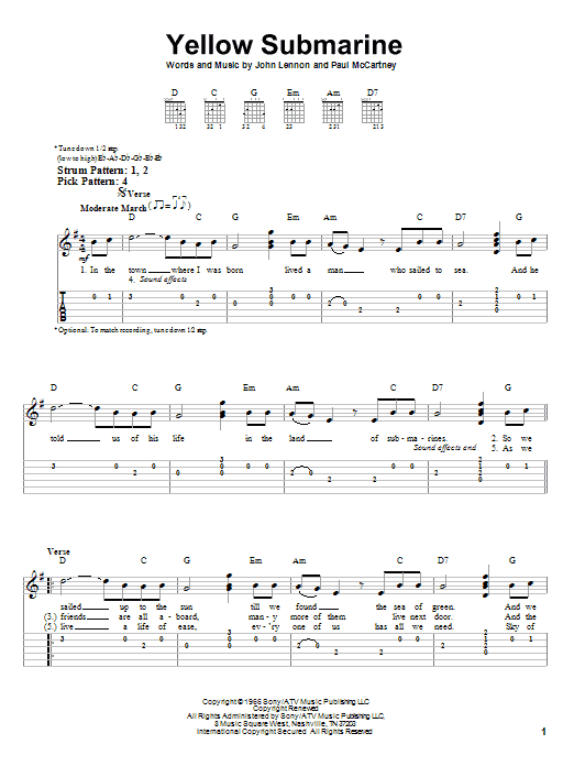 Tablature guitare Yellow Submarine de The Beatles - Tablature guitare facile