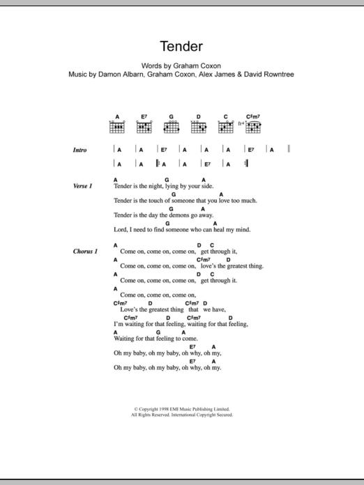Tender Blur Lyrics Chords