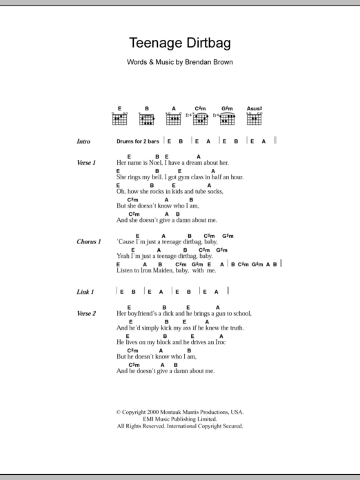 Teenage Dirtbag Sheet Music Direct