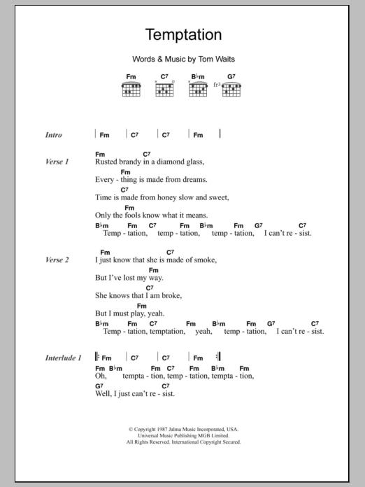 Temptation By Tom Waits Guitar Chordslyrics Guitar Instructor