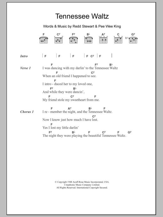 Tennessee Waltz Sheet Music Patti Page Lyrics Chords