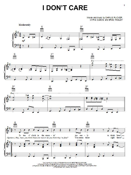 Partition piano I Don't Care de Darius Rucker - Piano Voix Guitare (Mélodie Main Droite)
