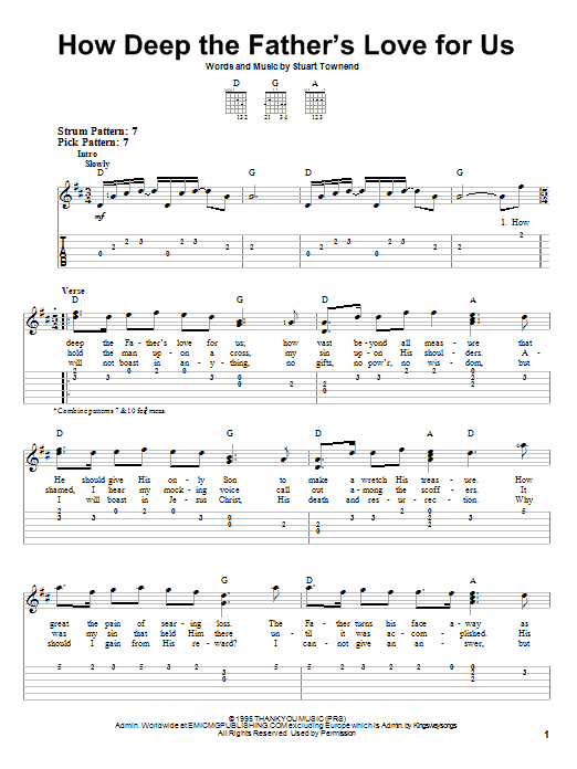 How Deep The Father's Love For Us (Easy Guitar Tab)