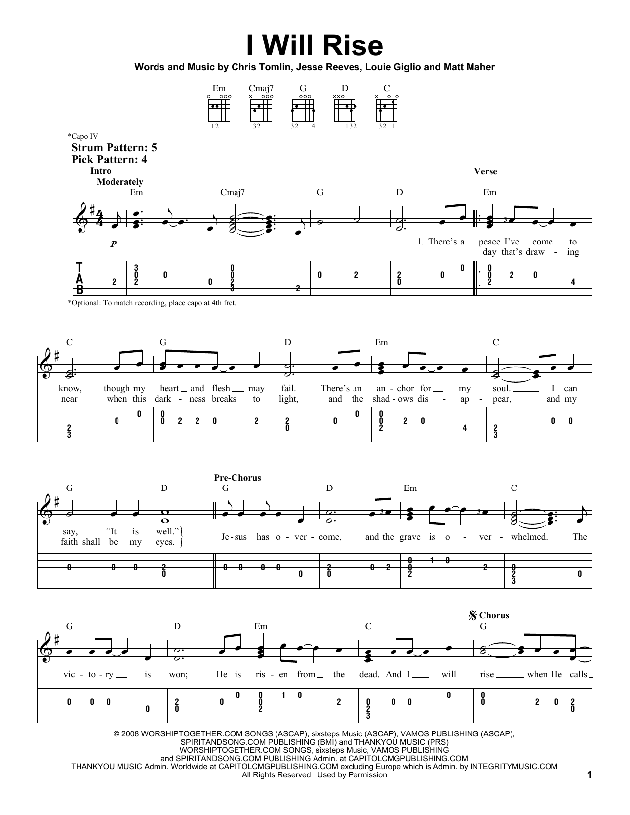 I Will Rise (Easy Guitar Tab)