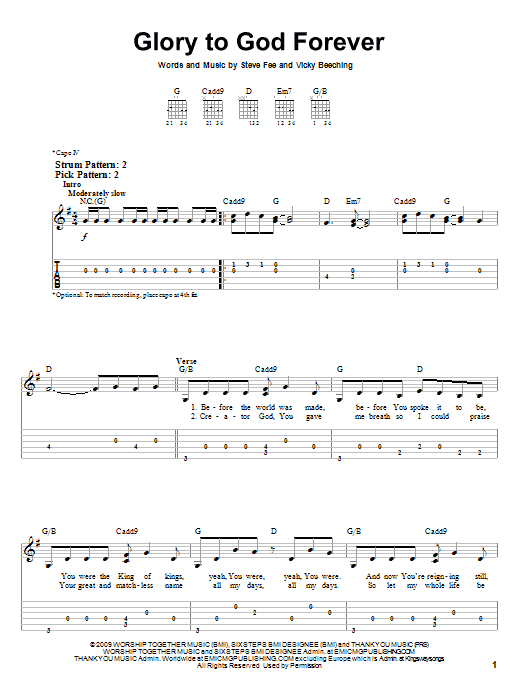 Glory To God Forever (Easy Guitar Tab)