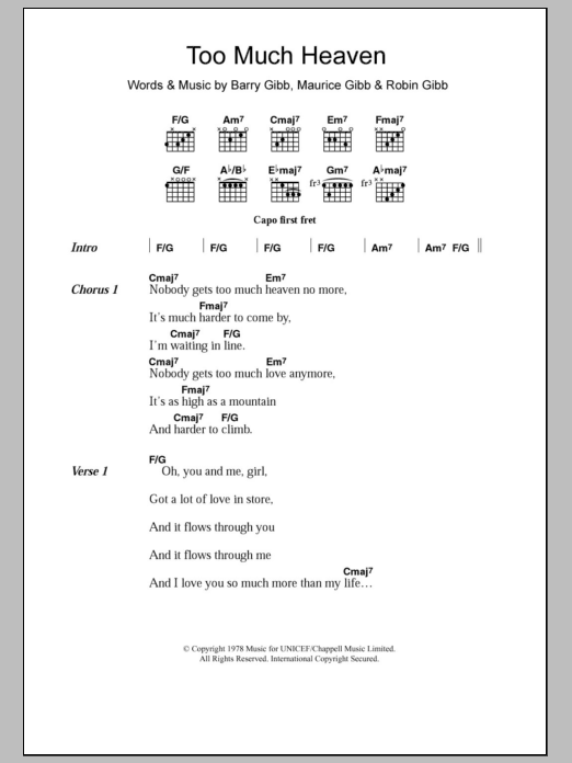 Too Much Heaven by Bee Gees - Guitar Chords/Lyrics - Guitar Instructor