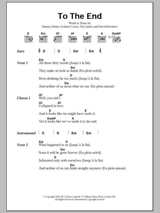 To The End by Blur - Guitar Chords/Lyrics - Guitar Instructor