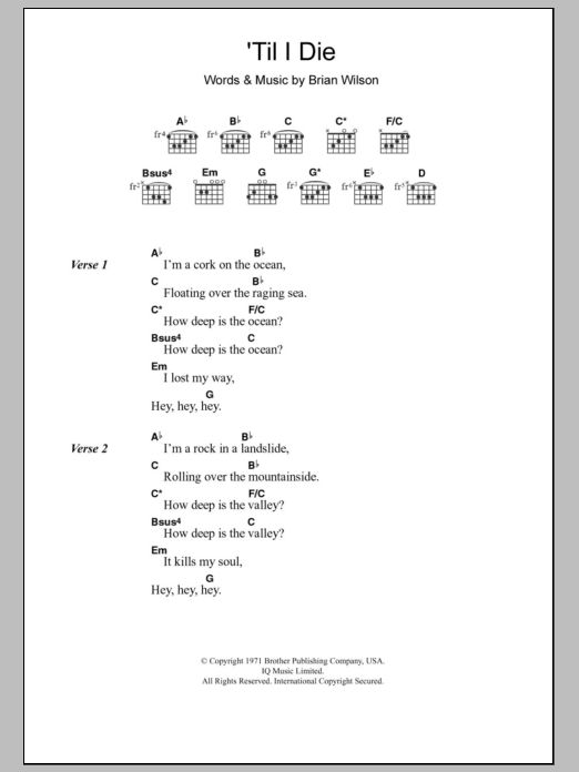 Til I Die | The Beach Boys | Lyrics & Chords