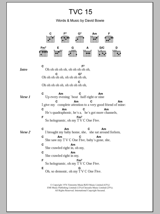 TVC 15 by David Bowie - Guitar Chords/Lyrics - Guitar Instructor