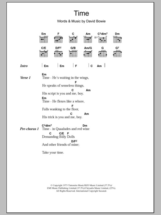 Time by David Bowie - Guitar Chords/Lyrics - Guitar Instructor