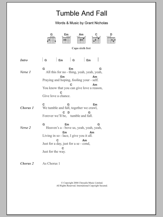 Tumble And Fall Sheet Music