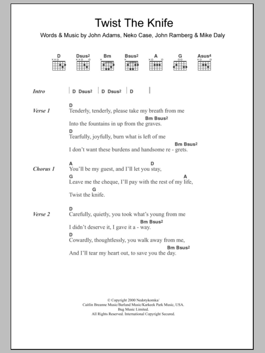 Twist The Knife Sheet Music