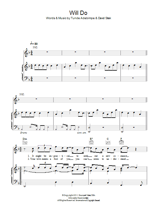Will Do Sheet Music