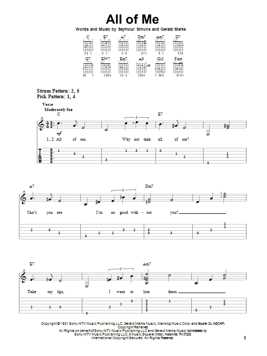 Tablature guitare All Of Me de Frank Sinatra - Tablature guitare facile