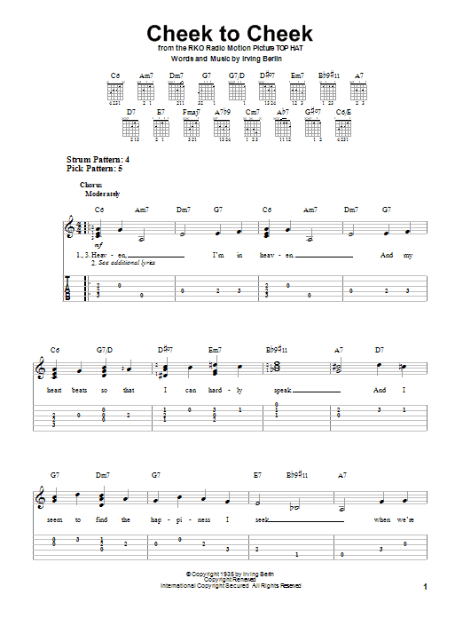 Tablature guitare Cheek To Cheek de Irving Berlin - Tablature guitare facile