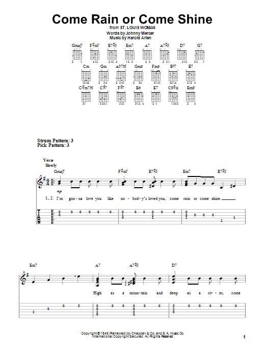 Tablature guitare Come Rain Or Come Shine de Harold Arlen - Tablature guitare facile