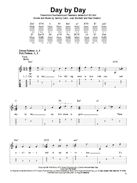 Tablature guitare Day By Day de Frank Sinatra - Tablature guitare facile