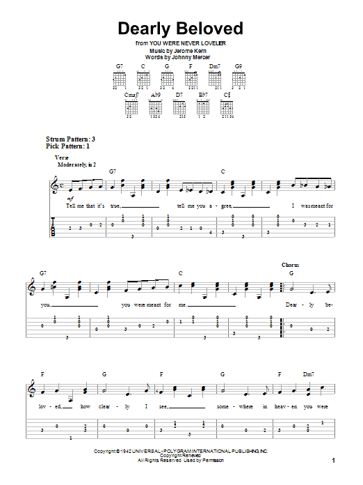 Tablature guitare Dearly Beloved de Jerome Kern - Tablature guitare facile