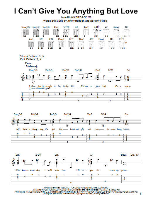I Can't Give You Anything But Love (Easy Guitar Tab)