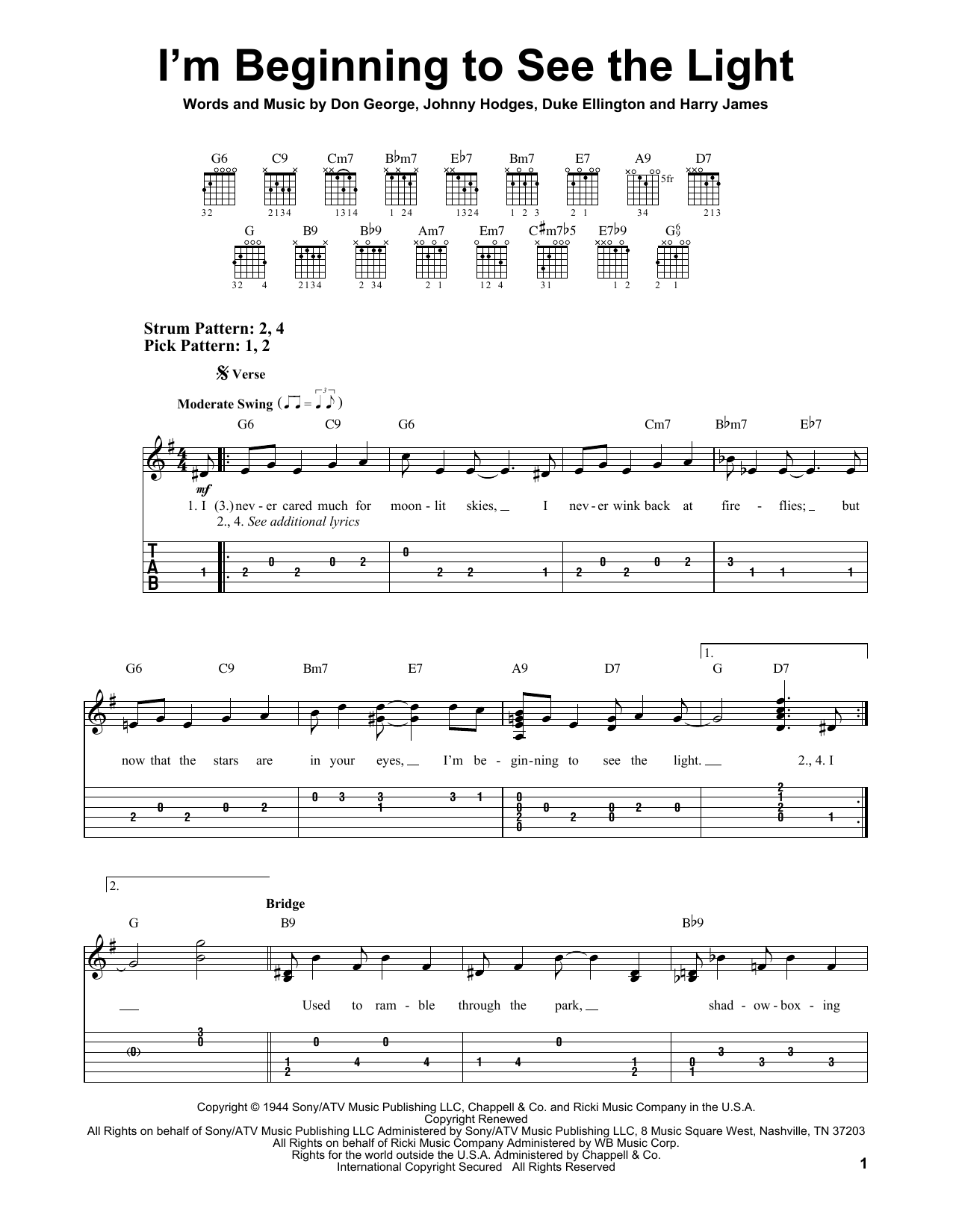 Tablature guitare I'm Beginning To See The Light de Duke Ellington - Tablature guitare facile