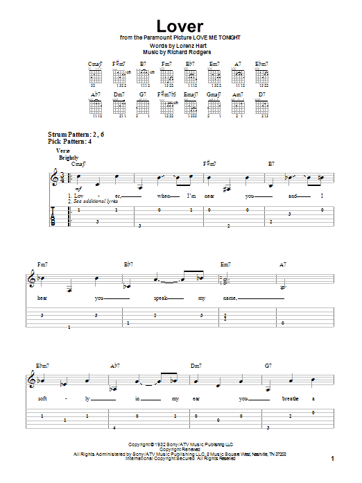 Tablature guitare Lover de Ella Fitzgerald - Tablature guitare facile