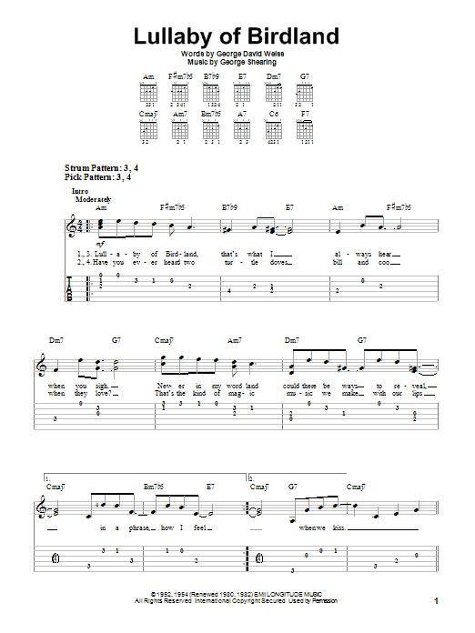 Tablature guitare Lullaby Of Birdland de George Shearing - Tablature guitare facile