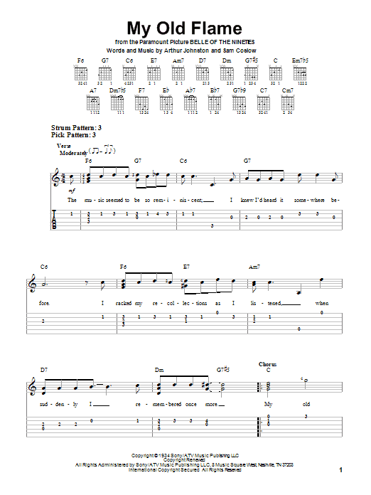 Tablature guitare My Old Flame de Peggy Lee - Tablature guitare facile
